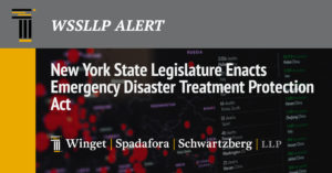 New York State Legislature Enacts Emergency Disaster Treatment Protection Act